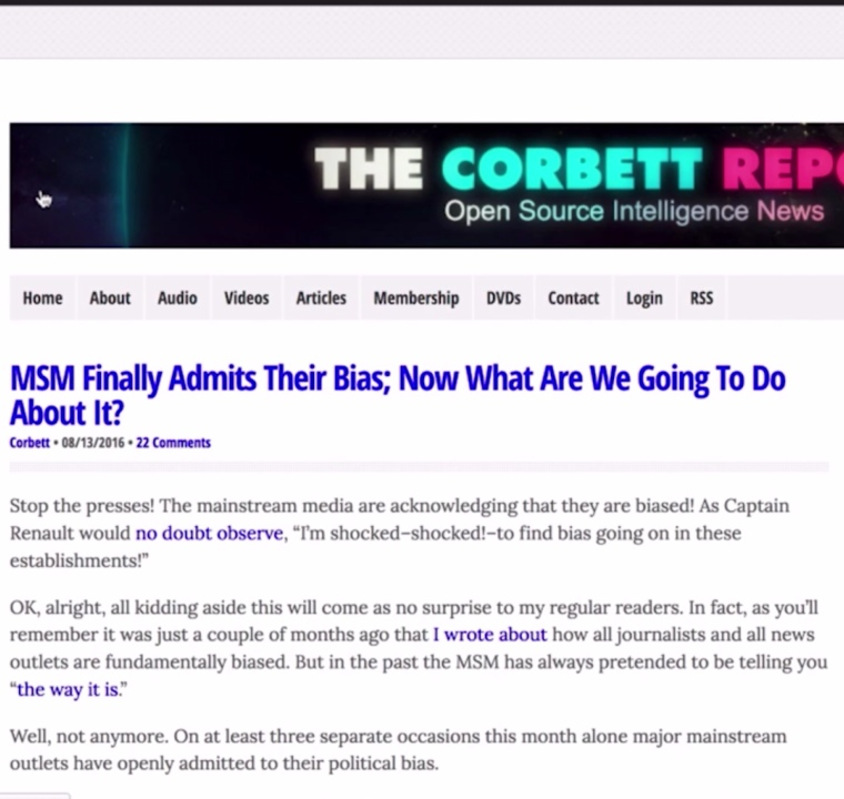 Yes, Mainstream Media Bias Is Getting Ridiculous... But Why? by The Corbett Report